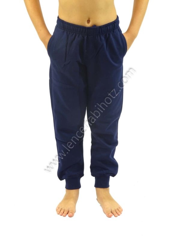 pantalón de algodón para niño bolsillos con puños de color marino