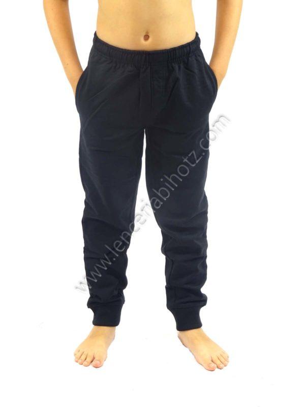 pantalón de algodón para niño bolsillos con puños de color negro