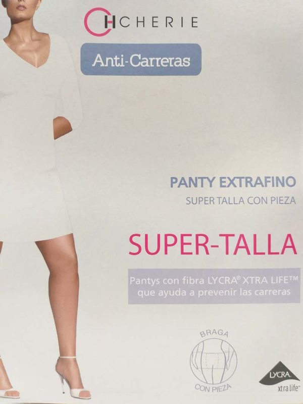 panty extrafino de verano anticarreras. Especial tallas grandes , con pieza trasera.