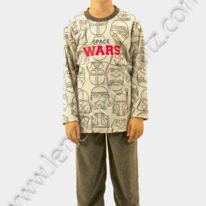 pijama niño terciopelo gris con caras de Darth Vader en la camiset. Terciopelo