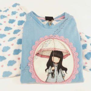 pijama niña Santoro Gorjuss polar azul celeste. Pantalon de nubes