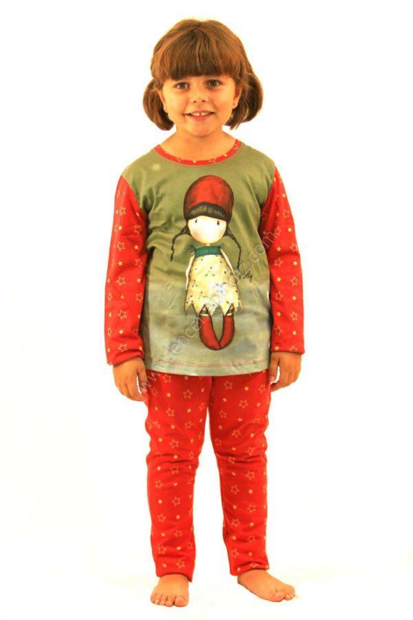 pijama niña Santoro Gorjuss. fondo rojo con estampado de estrellas doradas. Cofre de regalo
