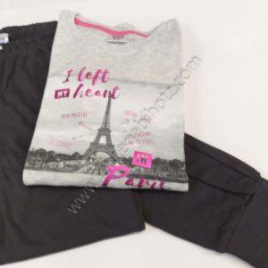 pijama algodon de manga larga con la camiseta estampada con un dibujo de Paris. Pantalon gris marengo con lunares