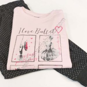 pijama niña de algodon. Camiseta rosa con dibujos ralcionados con el ballet. Pantalon de motas