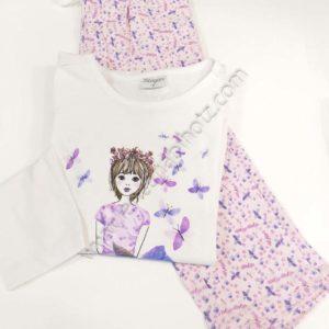pijama niña fino de algodon. Camiseta cruda con dibujo en el centro. Pantalon rosa con estampado de mariposas