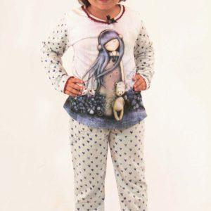 pijama niña Santoro Gorjuss. Manga larga color gris. Pantalon corazones y mangas y espalda. Dibujo grande en la camiseta