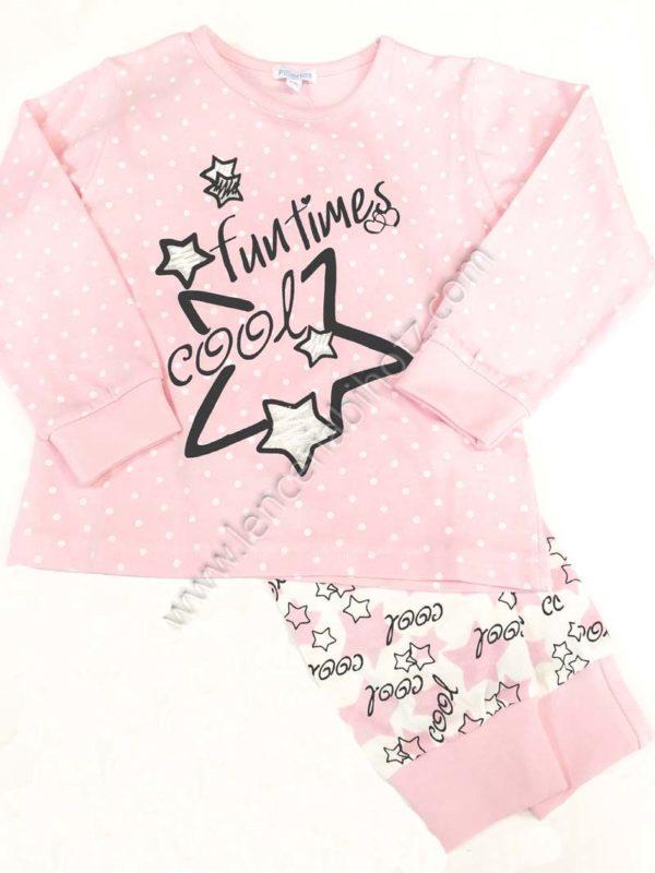 pijama de estrellas y motas de color rosa. Pantalon estampado de estrellas y letras con puño