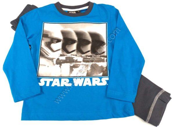 pijama niño Star Wars con camiseta azul y pantalon oscuro