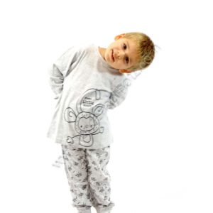 pijama niño gris jaspeado con pantalon estampado de monos con puño. Camiseta con dibujo central tambien de un mono
