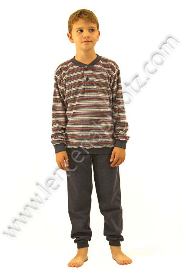 pijama niño terciopelo con camieta rayado y pantalon de puño. Camiseta con puños, tapeta y botones