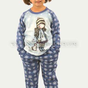 pijama niña gorjuss azul con copos de nieve en el pantalon y mangas