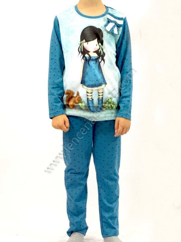pijama niña gorjuss azul petroleo pantalon motas