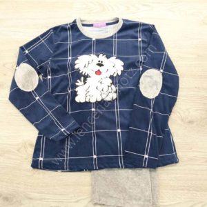 pijama niña terciopelo bordado en forma de perro. Coderas y pantalon liso. Camiseta azul marino