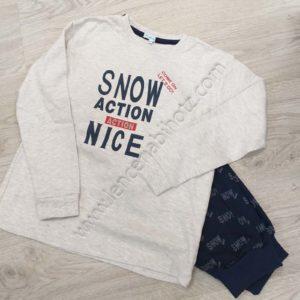 pijama algodon de niño manga larga. Camiseta gris jaspeado con pantalon marino estampado de letras