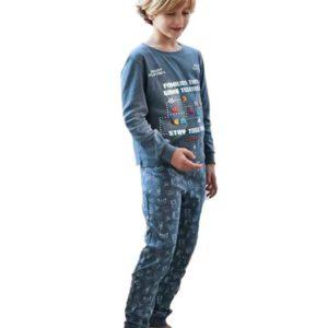 pijama niño algodon pacman azul con puños
