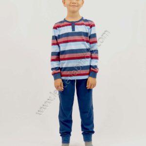 pijama niño algodon manga larga camiseta de rayas y pantalon liso color marino