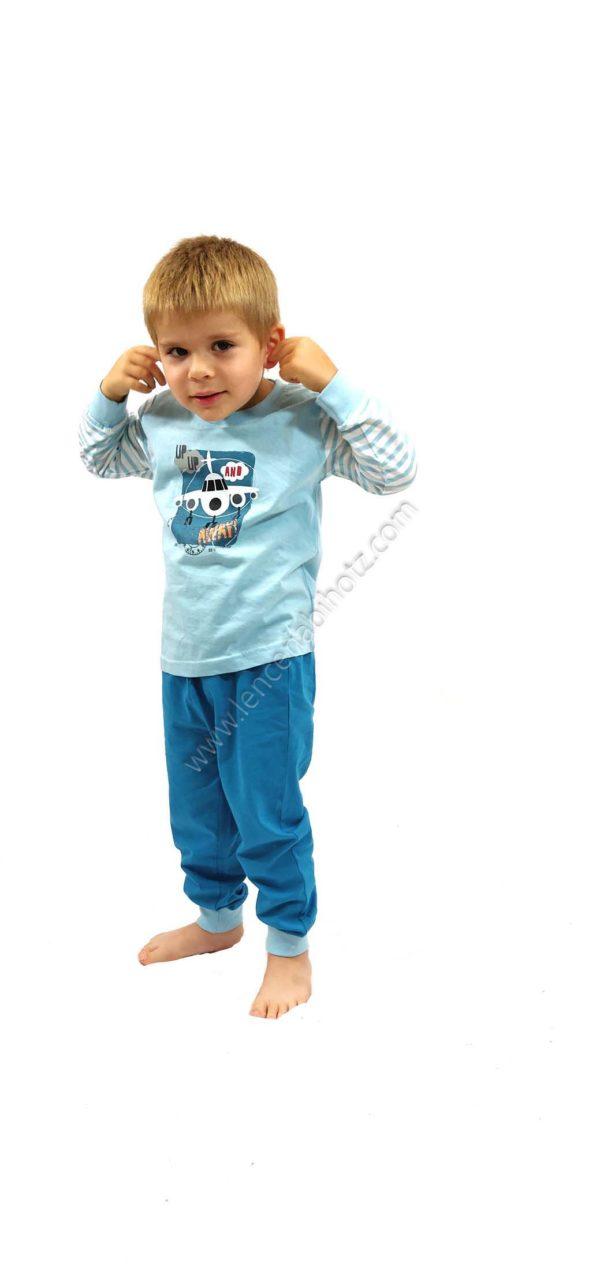 pijama niño azul con estampado de aviones. Manga larga de rayas. Puños