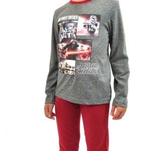 pijama niño Star Wars granate y gris con puño