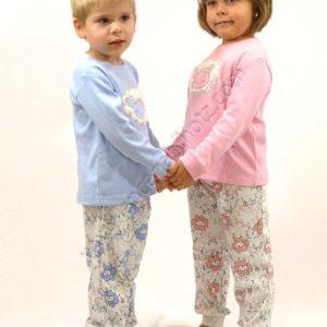 pijama para niño y niña azul celeste o rosa. Pantalon estampado de ovejas.