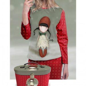 Pijama de algodón gorjuss manga larga rojo y cofre de regalo
