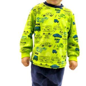 pijama niño terciopelo con puños. Manga larga color pistacho. Estampado de coches