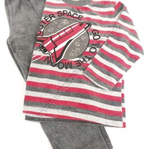 pijama de niño de treciopelo. Pantalon liso y camiseta rayada. Bordado del espacio