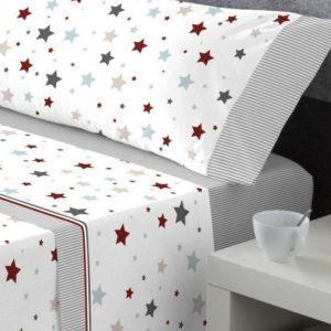 sabana algodon estrellas en gris con bajera en gris. Estampado estrellas