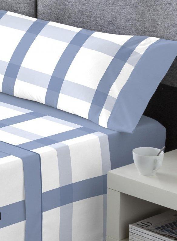 sabana franela cuadros azul bajera lisa ajustable