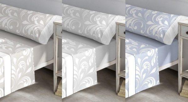 sabanas franela estampado de hoja de damasco elegante. En 3 colores a elegir. Beige, gris y azul. Bajera lisa
