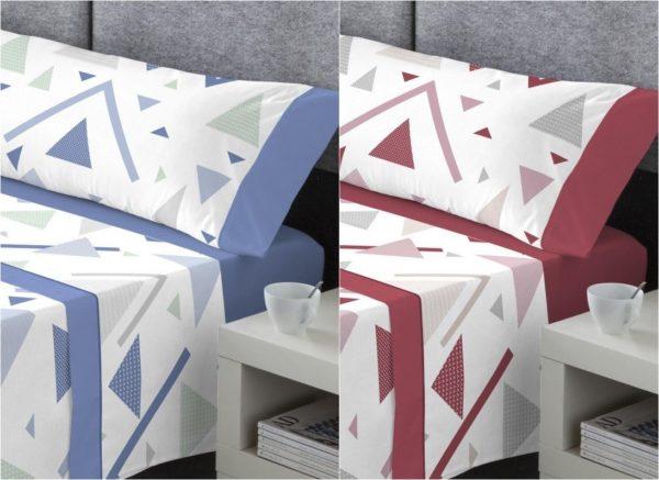 sabanas de algodon de estampado geometrico en dos colores a elegir. Burdeos o azul. Bajera lisa