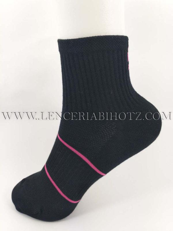 tobillero mujer negro con 2 rayas rosas en el empeine. Negro