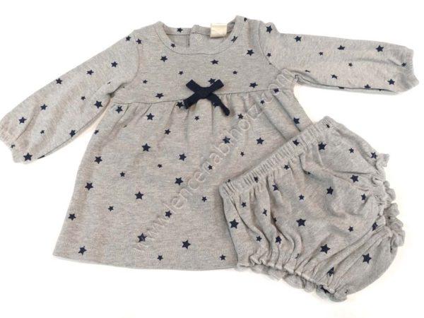 vestido de bebe de algodon con braguita a juego. Manga larga y abertura trasera