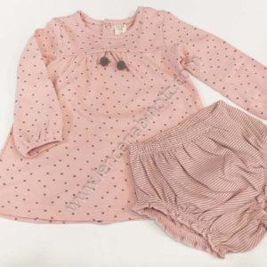 vestido rosa palo con motas y pompones de manga larga con braguita a juego