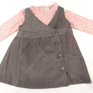 vestido de bebe de pana gris marengo con camiseta rosa de manga larga