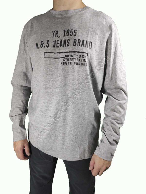 camiseta manga larga gris hombre con letras algodon