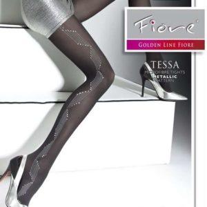 panty de fantasia negro con toques plateados en la parte exterior de la pierna.