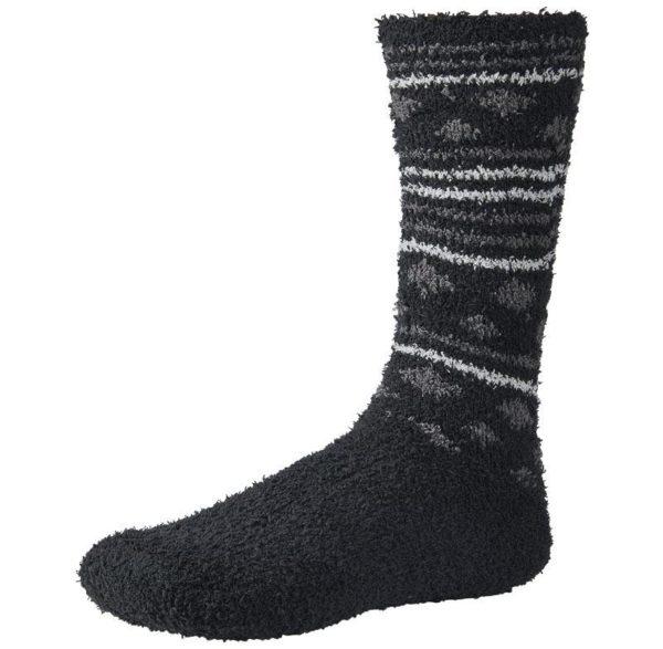 calcetin franela sin puño de hombre color negro. Estampado de motas y rayas.