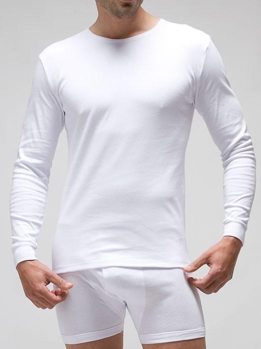 camiseta algodón hombre manga larga blanca