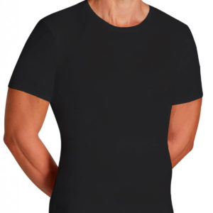 camiseta caballero algodon manga corta negra lenceriabihotz
