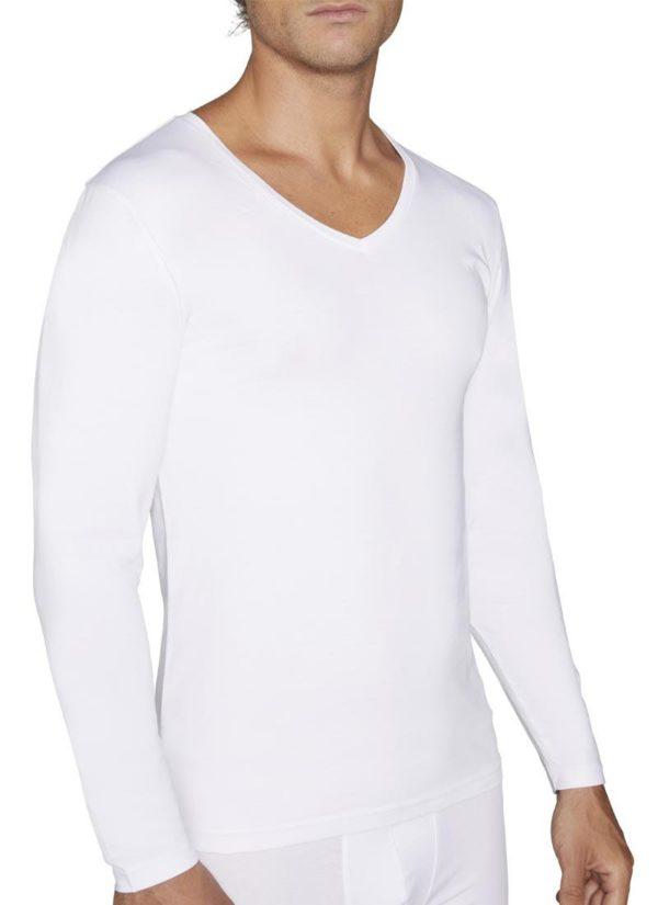 camiseta hombre algodon manga larga blanca con cuello en pico