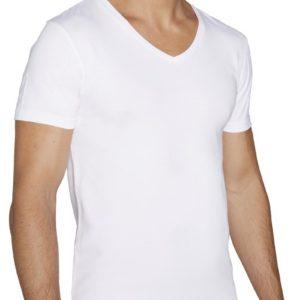 camiseta blanca de algodon de manga corta para hombre cuello pico