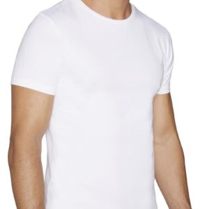 camiseta manga corta blanca cuello redondo