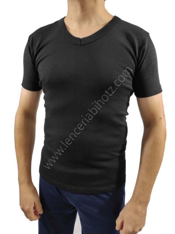 camiseta para hombre interior afelpado con cuello pico y manga corta