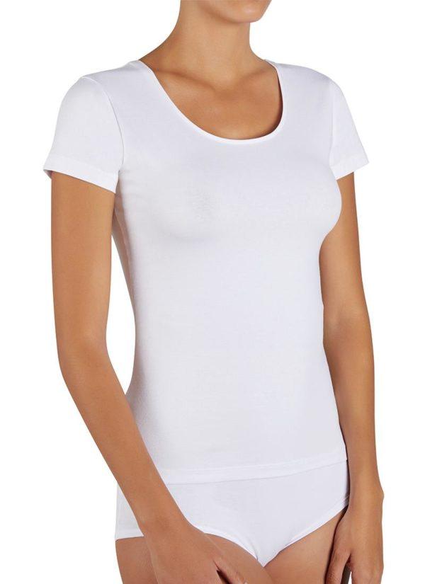 camiseta algodon manga corta de mujer blanca