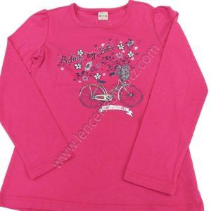 camiseta niña manga larga fuxia con dibujo de bici y flores.