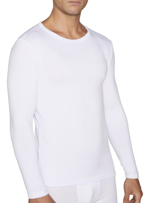 camiseta termica de hombre con interior afelpado de manga larga blanca