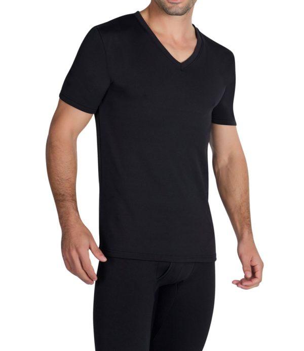 camiseta algodon manga corta y cuello pico