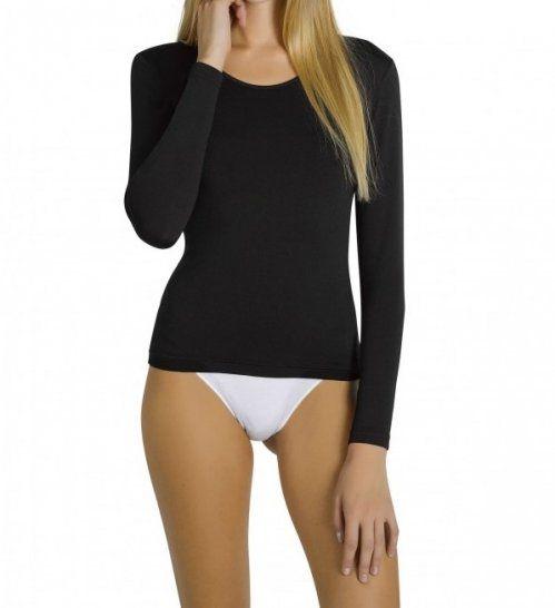 camiseta termica mujer con felpa manga larga negra