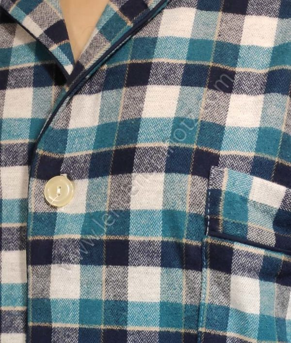 pijama franela cruadro verde manga larga abierto botones