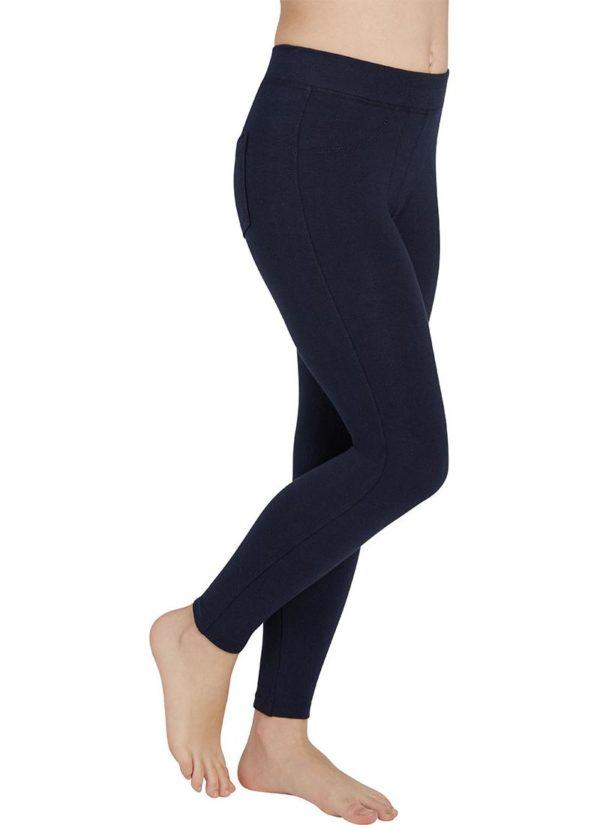 legging algodon negro tupido con bolsillos traseros y costuras laterales